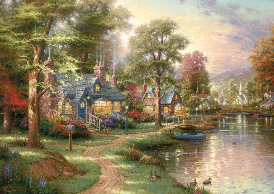 puzzle la maison sur le lac. Black Bedroom Furniture Sets. Home Design Ideas