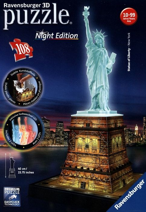 puzzle 3d statue de la libert edition de nuit. Black Bedroom Furniture Sets. Home Design Ideas